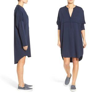 James Perse Long Sleeve Tunic Dress Deep Blue Mini